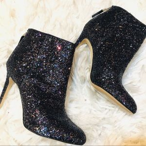 Sam Sam Edelman glitter leather ankle dress boots